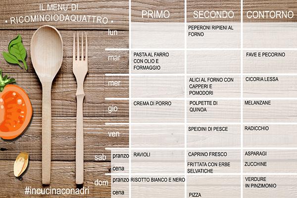 menu settimanale primaverile