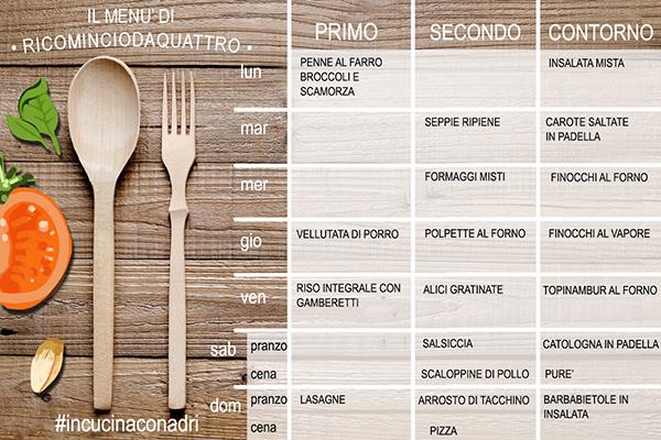 diario alimentare e menu settimanale