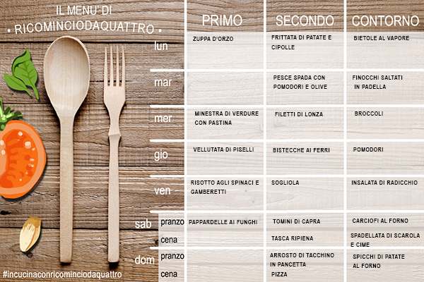 menu settimanale di novembre